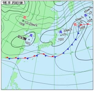 3月30日(月)15時の実況天気図