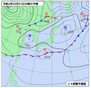 3月31日(火)9時の予想天気図