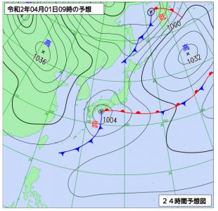 4月1日(水)9時の予想天気図
