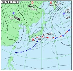 4月1日(水)15時の実況天気図
