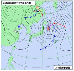 4月2日(木)9時の予想天気図
