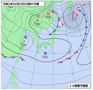 4月3日(金)9時の予想天気図