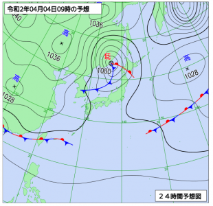 4月4日(土)9時の予想天気図