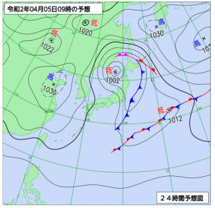 4月5日(日)9時の予想天気図