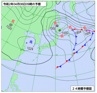 4月6日(月)9時の予想天気図