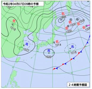 4月7日(火)9時の予想天気図