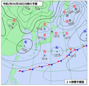 4月8日(水)9時の予想天気図