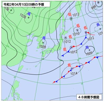 4月10日(金)9時の予想天気図