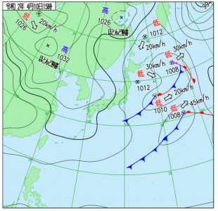 4月10日(金)15時の実況天気図