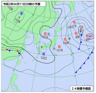 4月11日(土)9時の予想天気図