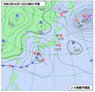 4月12日(日)9時の予想天気図