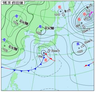 4月12日(日)15時の実況天気図