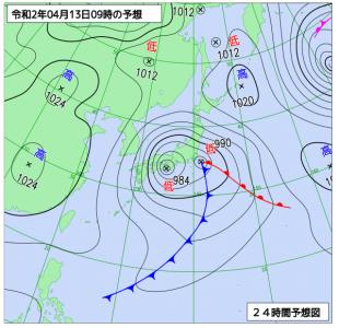 4月13日(月)9時の予想天気図