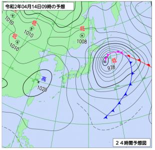 4月14日(火)9時の予想天気図