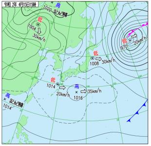 4月15日(水)15時の実況天気図