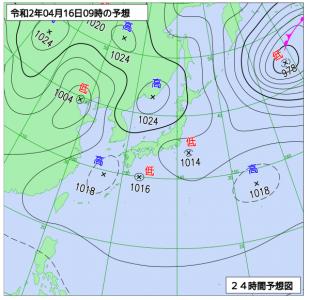4月16日(木)9時の予想天気図