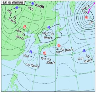 4月16日(木)15時の実況天気図