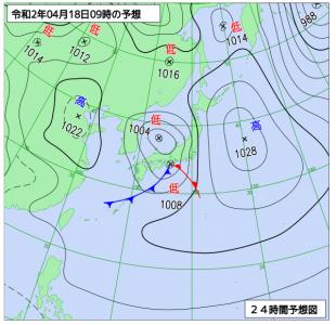4月18日(土)9時の予想天気図