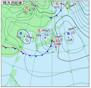 4月18日(土)15時の実況天気図