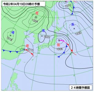 4月19日(日)9時の予想天気図