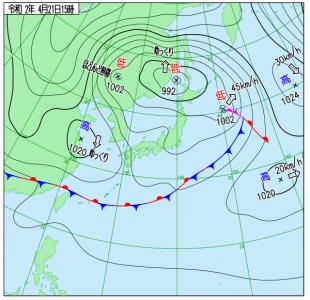 4月21日(火)15時の実況天気図