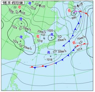 4月27日(月)15時の実況天気図