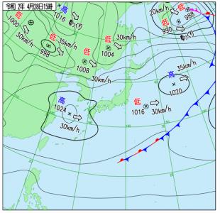 4月28日(火)15時の実況天気図