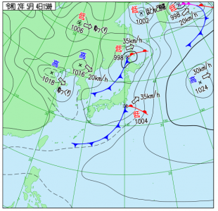 5月4日(月祝)15時の実況天気図