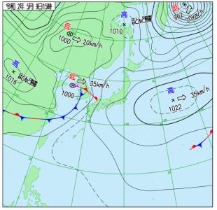 5月9日(土)15時の実況天気図