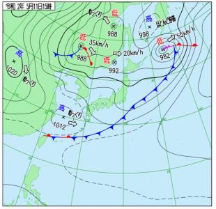 5月11日(月)15時の実況天気図