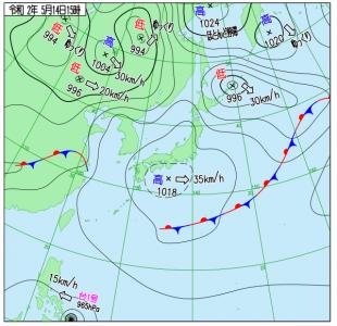 5月14日(木)15時の実況天気図