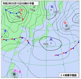 5月15日(金)9時の予想天気図