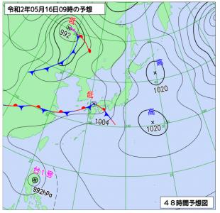 5月16日(土)9時の予想天気図