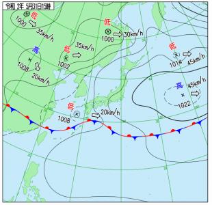 5月31日(日)15時の実況天気図