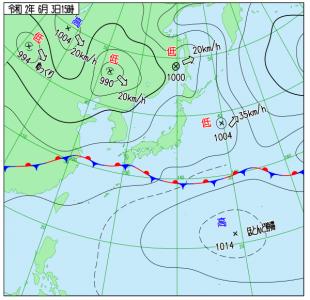 6月3日(水)15時の実況天気図