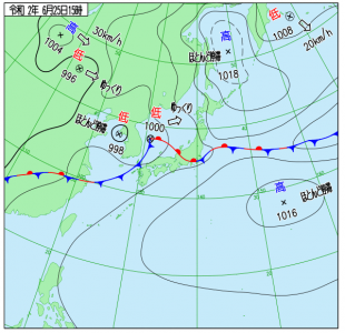6月25日(木)15時の実況天気図