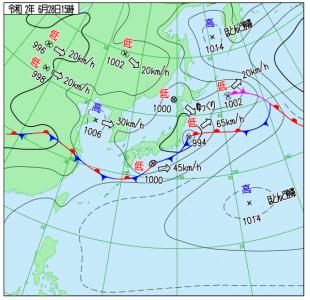 6月28日(日)15時の実況天気図