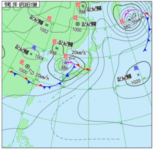 6月30日(火)15時の実況天気図