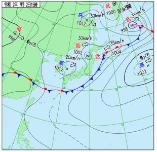 7月2日(木)15時の実況天気図