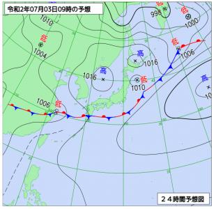 7月3日(金)9時の予想天気図
