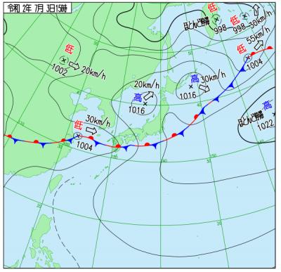 7月3日(金)15時の実況天気図