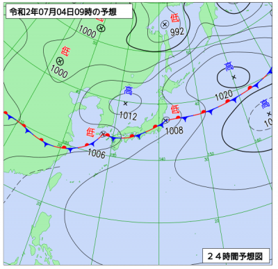 7月4日(土)9時の予想天気図