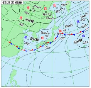 7月4日(土)15時の実況天気図