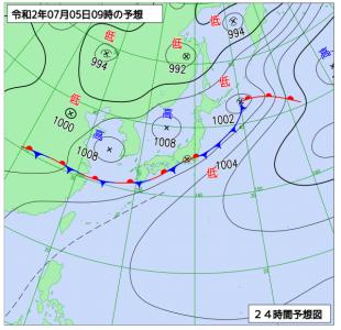 7月5日(日)9時の予想天気図