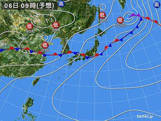 7月5日(月)9時の予想天気図