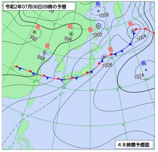 7月6日(月)9時の予想天気図