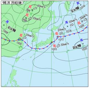 7月18日(土)15時の実況天気図