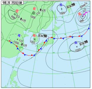7月25日(土)15時の実況天気図