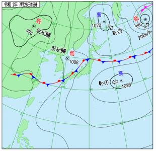 7月26日(日)15時の実況天気図