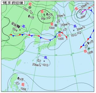 8月15日(土)15時の実況天気図